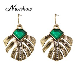 Wholesale Green Plant Costumes - Vintage Female Earrings Costume Jewelry Anqitue Gold with Green Stone and Rhinestone Feather Shape Dangle Earrings Brincos