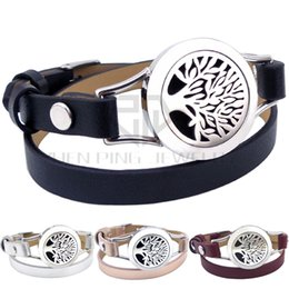 Wholesale Clasp Magnets - New Magnet Steel Tree of Life 25mm Black Genuine Leather Aroma Locket Stainless Steel Bangle Essential Oils Diffuser Locket Leather Bracelet