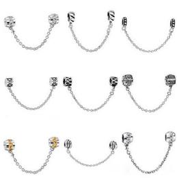 Catene di stile pandora europee online-50pcs stile della miscela placcato argento catena di sicurezza moda europeo perline di fascino fit pandora collana pendente di stile gioielli originali fai da te