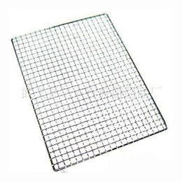 Wholesale Electric Heating Oven - Wholesale- 1pcs 40cm x 25cm Metal Squares Holes Grill Barbecue Wire Mesh BBQ Barbecue Tool Nonstick Stainless Steel Grilling Wire Mesh Oven