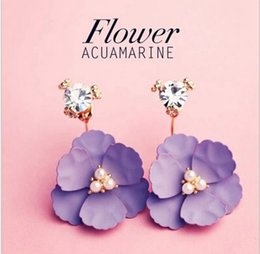 Wholesale Pendant Ear 18k - 2017 Camellia Flower Petals Earrings Retro Rhinestone Crystal Beach Earrings After Hanging Floral Pendant Ear Studs Earring For Women Ladies
