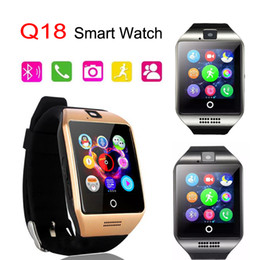 Wholesale Packaging Gsm - Q18 Smart Watch GSM Sim Card Bluetooth For Android IOS Phone with 0.3M Camera Support TF Card Connection Wrist Watches with Retail Package