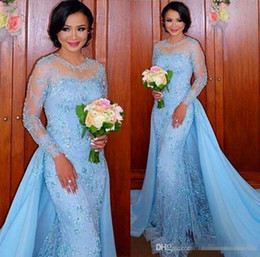 Wholesale Lace Over Keyhole - Skye Blue 2017 Elie Saab Formal Celebrity Evening Dresses Sheer Long Sleeves Lace Appliques Over Skirts Train Prom Special Occasion Gowns