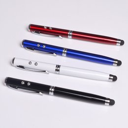 Wholesale Laser Pen Phone - 4 in 1 Laser Pointer LED Torch Touch Screen Stylus Ball Pen for Universal smart phone free Shipping