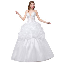 Wholesale Cheap Embroidered Stockings - In Stock Sweetheart wedding dress Embroidered Ball gown wedding dresses Beaded Lace Up cheap wedding gown 2017
