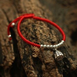 Wholesale String Bracelets 925 Silver - Wholesale- 925 Sterling Silver Lotus Seedpod Pendant Lucky Red Rope Shambala Bracelet Handmade Bangle Wax String Amulet Jewelry