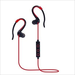 Wholesale Music Box Hanging - Red colour Hang-ear Earphone Bluetooth 4.1 bilateral Stereo Earphone Fashion Sport Headsets Studio Music Earphone With Mic Retail Box