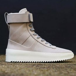 Wholesale Sneakers High Heel Shoes - 2016 FEAR OF GOD Military High-Top Sneakers Black Suede Gum Grey Nubuck Boot Fog Jerry Lorenzo Kanye black Nylon running shoes
