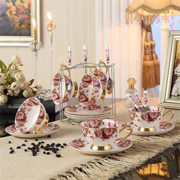 Wholesale Bone China Tea Cup Coffee Cup Set with Saucer and Spoon for Home Restaurants Display Holiday Gift for Family or Friends