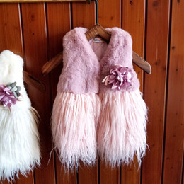 Wholesale Pink Lolita Coat - Kids Vest Girls Baby Plush Warm Thick Waistcoat Tassels Cardigan Autumn Flower Winter Fashion Coat Outerwear Princess Girl Pink White A7583