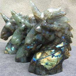 Wholesale Carved Stone Figurines - Natural labradorite Handcrafted Unicorn Skull Figurine, Handcrafted Unicorn Skull Figurine, Healing Energy Carved Crystal Gemstone-1pc