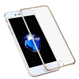 Wholesale Full Thickness - Alloy Metal Edge 3D Curved Full Coverage Tempere Glass For iPhone 7 Plus Screen Protector Film 9H Hardness 0.26mm Thickness Transparent