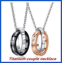 Wholesale Couple Necklaces Platinum - Stainless Steel Couple Necklace Lover Pendant DHL Valentine's Day Jewelry Gift Golden Color and Silver Color bea025