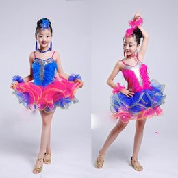 Wholesale Latin Dance Costumes Feathers - Sequins feather Girls Ballroom Latin Dance dress Kids professional ballet tutus Costumes Jazz Modern skating clothing dress