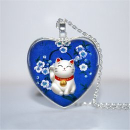 Wholesale Glass Necklace Heart - 10pcs lot Blue Maneki Neko Pendant, Maneki Neko Necklace, Lucky Cat Heart Necklace Glass Photo Cabochon Necklace