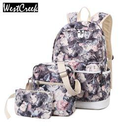 Wholesale Flower Laptop Bags - Wholesale- Westcreek Brand 3pcs Set Backpack Women Flower Printing Backpack Canvas Backbag School Bags for Teenagers Girls Laptop Rucksack