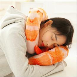 Wholesale Shrimp Shape - Shrimps Hold Pillow U-shaped Pepper Travel Pillows Cartoon Creative Throw Pillow Neck Nap Pillow Kids Stuffed Animals Plush Toys Gifts B3439