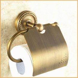 Wholesale Brass Toilet Tissue Holder - Retro Style Wall Mounted Bathroom Toilet Paper Holder Antique Brass Roll Tissue Box Holders Free Shipping