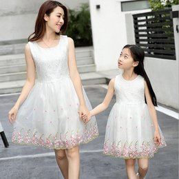 matching mother child clothes Promo Codes - mother daughter dresses gown family matching parent-child baby lace clothing girl sleeveless princess skirt dress kids fashion QZZW063
