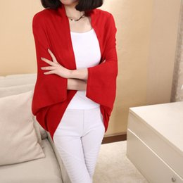 Wholesale Ladies Long Red Cardigan Sweater - Wholesale- 3 Colors Women Loose Shawl Batwing Sleeves Lady Knit Sweater Coat Woolen Women Cardigans Red Black Free Size