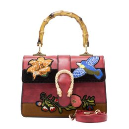 Wholesale Embroidery Bamboo - Fashion luxury brand tote bag for women embroidery flora women handbags purses bags 2017 PU female bamboo bags free shipping