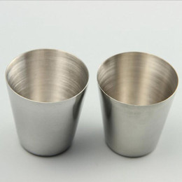 Wholesale Stainless Steel Shot Glass - Portable Shot Glass Stainless Steel Wine Glasses Wine Beer Whiskey Tumblers Outdoor Beach Cup 30ML Free Shipping YW126