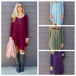 Wholesale Wholesale Dress Tops - Women Clothing Shirt Dresses Irregular Loose V-neck Long-sleeved Empire Waist Dresses Top Plus Tunic Boho Dresses YYA152