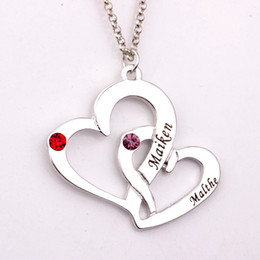 Wholesale Engraved Necklace Name - Wholesale-Engraved Two Heart Necklace with Birthstones 2016 New Arrival Long Birthstone Necklaces Custom Made Any Name YP2486