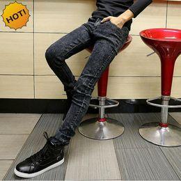 Wholesale Grey Designer Jeans - Wholesale-Fashion Slim Fit Snow Grey Stetch Classic Designers Pencil Pants Mens Hip Hop Streetwear Boys Teenagers Jeans Men 28-34 Bottoms