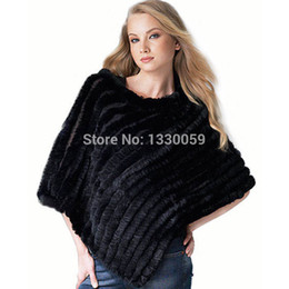 Wholesale Knitted Rabbit Poncho - Wholesale- 2016 Hot Sale Real Knitted Rabbit Fur Shawl Fashion Women Rabbit Fur Poncho FUR coat Free shipping AF042