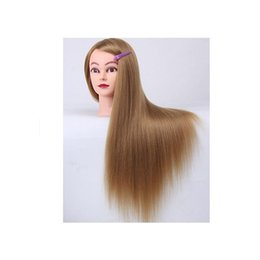 Wholesale Mannequin For Hair Style - 1Pc 100% Synthetic Yaki Hair Hairdressing Training Head Salon Mannequin Head For Hair Styling Tools + Clamp Free Shipping