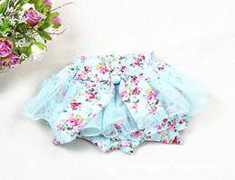 Wholesale Tutu Skirt Bloomers - baby girl kids pettiskirt tutu skirt cotton vintage flower floral short pants shorts Bowknot legging bloomers