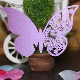 Wholesale Party Paper Table - 50pcs lot free shipping Laser Cut Wedding Party Pearlescent Table Name Place Cup Cards hollow Butterfly Design Wedding Favors Party Supplies
