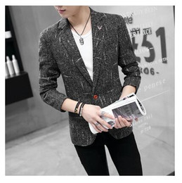 Wholesale Gray Korean Style Blazer - New male costumes Korean style thin fashion slim blazer jacket tide gray black navy blue colors coat outfit show prom party clothing wear