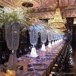 Wholesale Lighted Centerpieces - 2017 latest Luxury Shiny Wedding Decor Centerpieces Crystal Beads String Road Lead Party Table Decoration Props