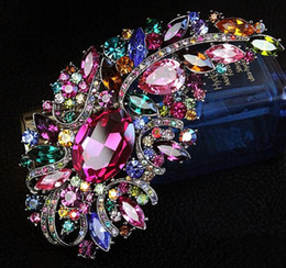 Wholesale Indian Wedding Flower Jewellery - Fashion Jewellery Large Size Muticolor Crystal Rhinestone Flower Brooches and Pins For Wedding Bouquet For Women