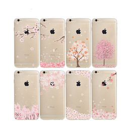 Wholesale Cherry Chinese - Cherry Blossoms Painting Cases Soft TPU Clear For Samsung Galaxy S8 Plus S6 S7 EDGE J5 J7 Prime Iphone 7 6S Plus