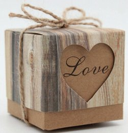 Wholesale Paper Hearts - Vintage Kraft Paper Hollow Out Love Heart Favor Gift Box Wedding Birthday Party Handmade Soap Jewelry Candy Wrap Packaging Boxes