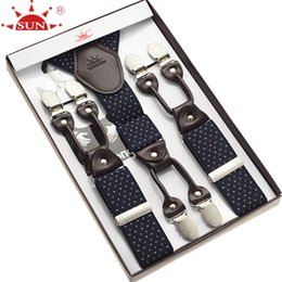 Wholesale Western Suspenders - Wholesale- Fashion leather alloy 6 clips male vintage casual suspenders commercial western-style trousers man's braces strap