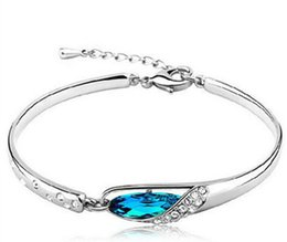 Wholesale high quality crystals - FASHION JEWELRY Angel Tears Austrian crystal bracelet jewelry for women girls High quality maxi statement bangles 160181