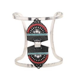 Wholesale Boho Vintage Bracelet - 2017 Alloy Crystal Bracelet Fashion Silver Plated Power Multi Layer Vintage Gypsy Boho Ethnic statement Bracelets Women Jewelry wholesale