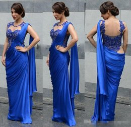 Wholesale Saree Laces - Arabic Indian Women Evening Dresses 2017 Sexy Royal Blue Cheap Sheath Applique Sheer Wrap Party Formal Prom Gowns Party Saree