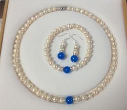 2019 conjunto de pulseira de safira azul FRETE GRÁTIS7-8mm Branco Akoya Cultivadas Pérola Azul Sapphire Colar Pulseira Brincos Set conjunto de pulseira de safira azul barato