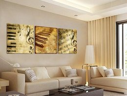 Wholesale Music Paintings Canvas - Modern Wall Art Home Decoration Printed Oil Painting Pictures Frame Art Canvas Prints 3 Panel Classical Piano Music Notes