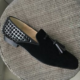Wholesale Mens Dress Shoes Square Toe - New mens square toe spikes oxfords,designer brand back spikes tassel business wedding dress shoes fashion men loafers 39-46