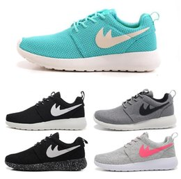 Wholesale Outlet Point - Factory outlet Run cow Running Shoes Mens and Womens roche black and white rushe one rose RunIngs runing shoes size 36-45