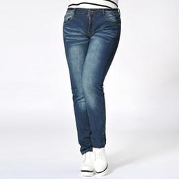 Wholesale Jeans Woman Size 32 - Wholesale- L~4XL Brand 2016 Winter Autumn Vintage Plus Size Jeans Blue Denim Slim Pants Women Ladies Pencil Cotton Femme Big Trousers 32-40