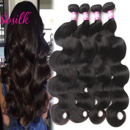 Wholesale Indian Brizilian Body Wave - Mink Brazilian Virgin Hair Body Wave 4Pcs Remy Brazilian Hair Weave Bundles 30 32 Inch Long Black Human Hair Extensions Brizilian Body Wave