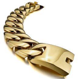Wholesale Heavy Stainless Wrist - Width 31mm Men's Large Heavy 316L Stainless Steel Bracelet Link Wrist Gold plated Biker Polished mens biker bracelets jewelry