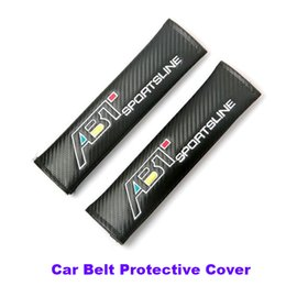 Wholesale Passat Cc Seat - TOP carbon fiber pu car padding 2pcs Car belt Black Car Seat Belt for Passat B6 B7 CC Golf Jetta MK5 MK6 Tiguan ABT Logo